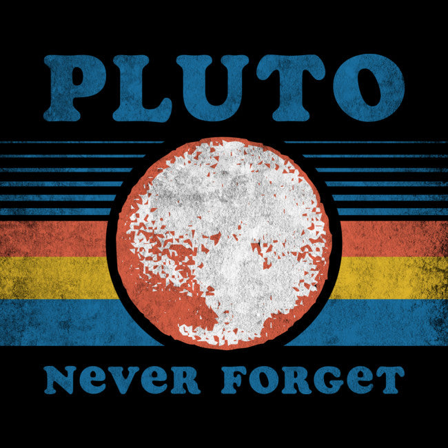 Design By Humans - Pluto Never Forget Black T-Shirt by Tingsy