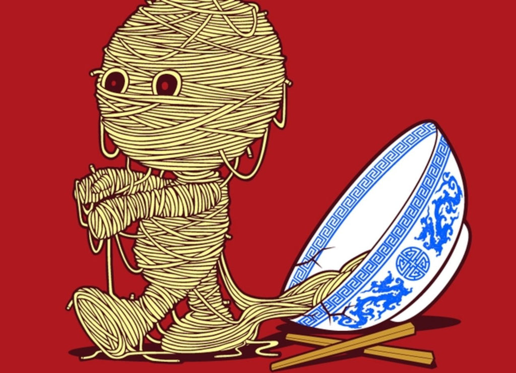 Threadless - 'RAMEN'SES RETURN Red T-Shirt by Jerry Maninang