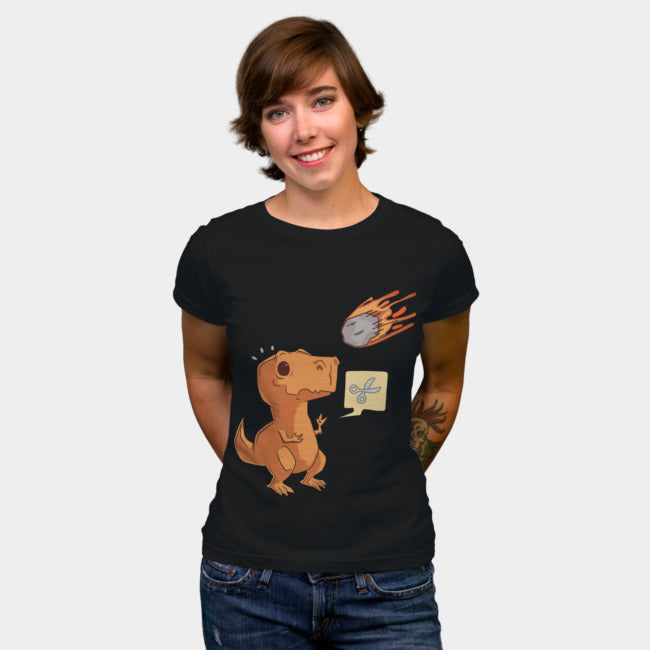 Design By Humans - Dinosaur Meteorite Scissors Black T-Shirt by MaaxLoL