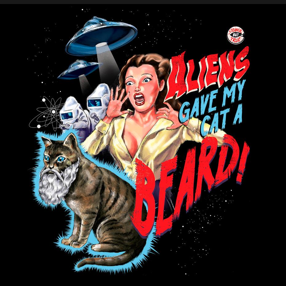Artokingo - Aliens Gave My Cat a Beard Black T-Shirt by Steven Rhodes