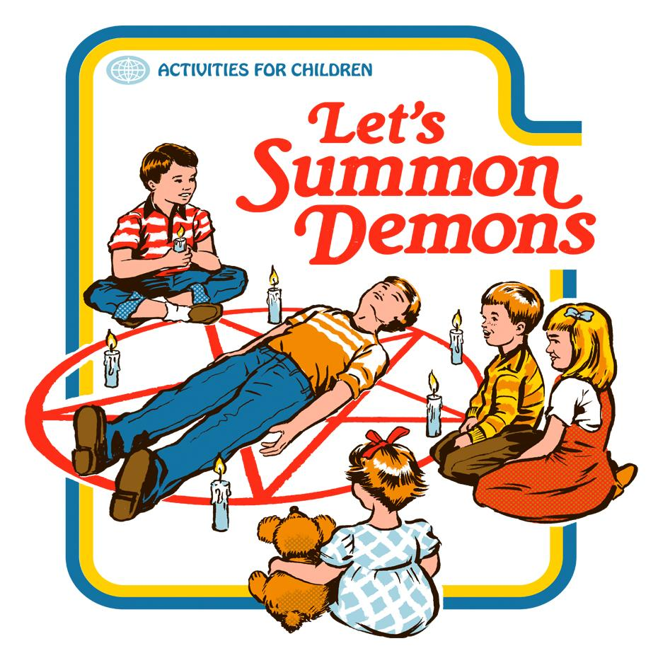Artokingo - Let's Summon Demons White T-Shirt by Steven Rhodes