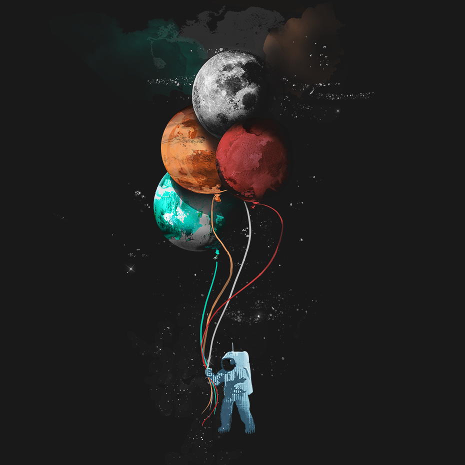 Artokingo - The Astronauts Party Black T-Shirt by Elan Harris