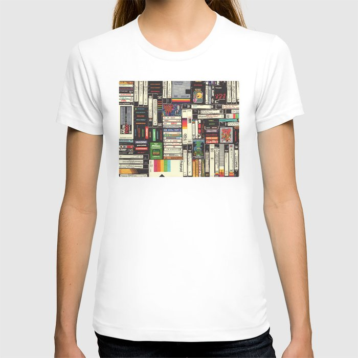 Society6 - Cassettes, VHS & Games White T-shirt by Hollis Brown Thorton