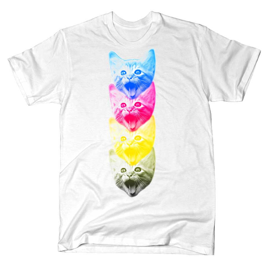 Artokingo - CMYKat White T-Shirt by Alex Peck