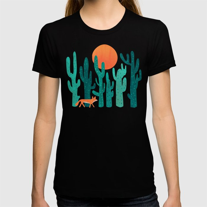 Society6 - Desert Fox Black T-Shirt by Picomodi