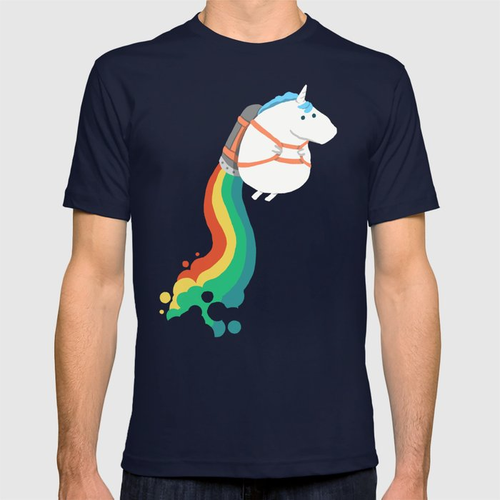 Society6 - Fat Unicorn on Rainbow Jetpack Navy T-Shirt by Picomodi