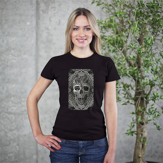 Artokingo - Lace Skull Black T-Shirt by Ali Gulec