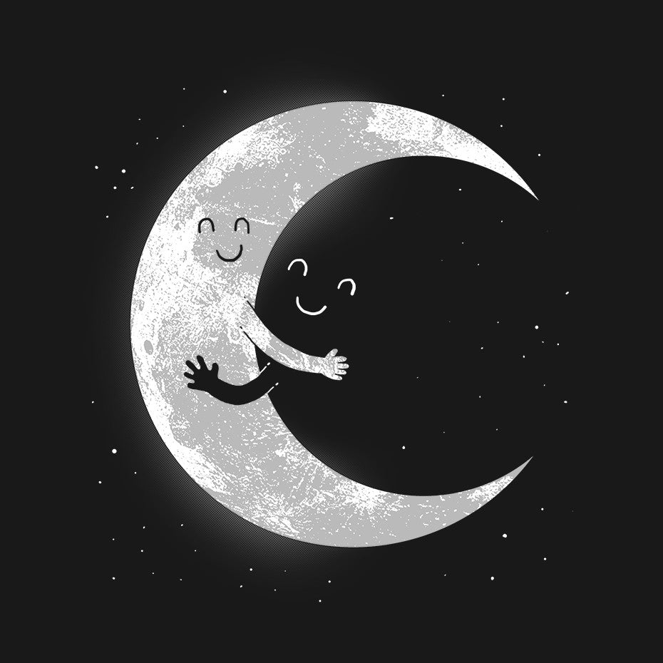 Artokingo - Moon Hug Black T-Shirt by Carbine