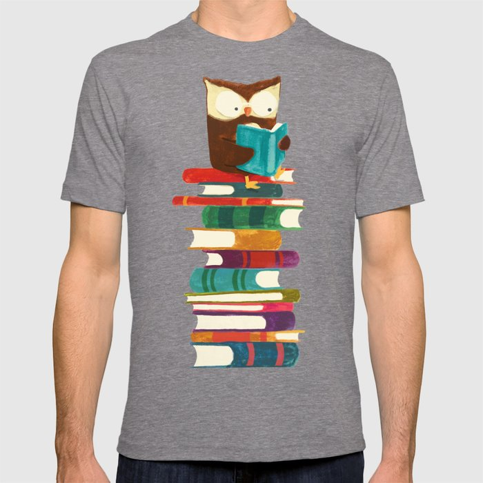 Society6 - Owl Reading Rainbow Grey T-Shirt by Picomodi