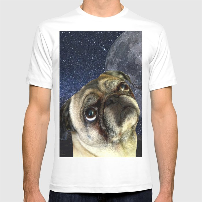 Society6 - Pug and Moon White T-Shirt by Erika Kaisersot