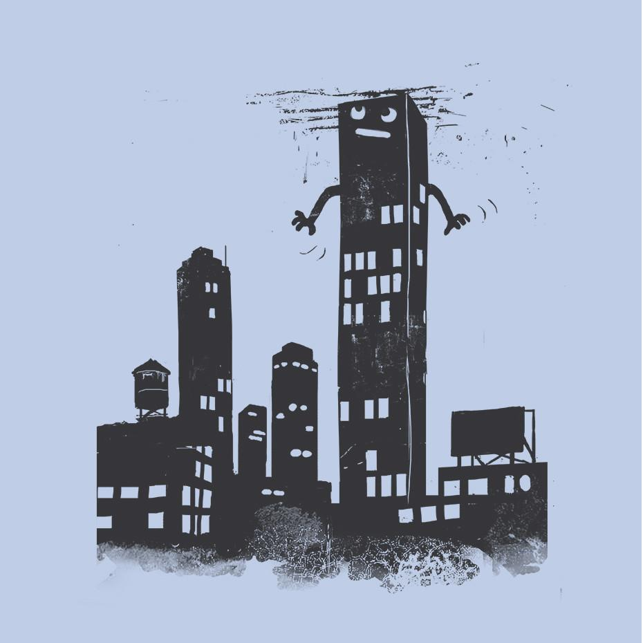 Artokingo - The Skyscraper Light Blue T-Shirt by Elan Harris