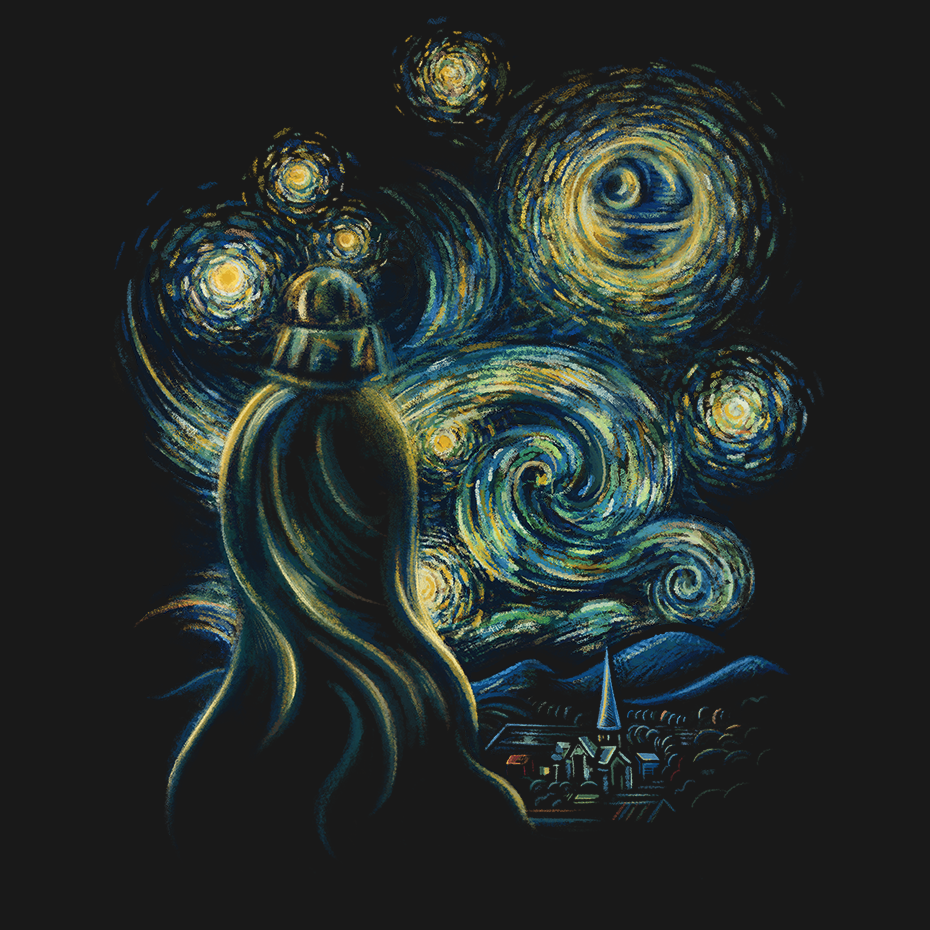 Artokingo - Starry Night Black T-Shirt by Enkel Dika
