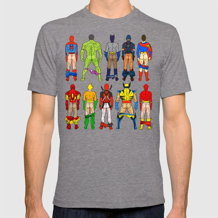 Society6 - Superhero Butts Grey T-Shirt by Notsniw
