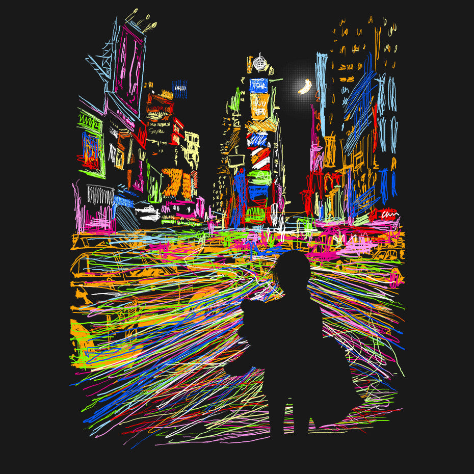 Artokingo - The City That Never Sleeps Black T-Shirt by Kooky Love