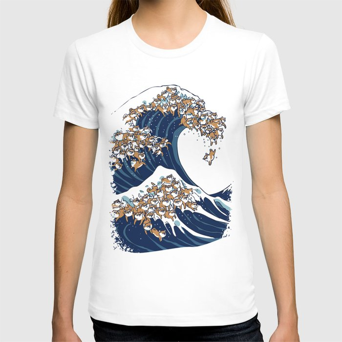Society6 - The Great Wave of Shiba Inu White T-Shirt by Huebucket