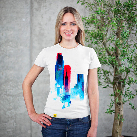 Artokingo - Wolf In The City White T-Shirt by Robert Farkas