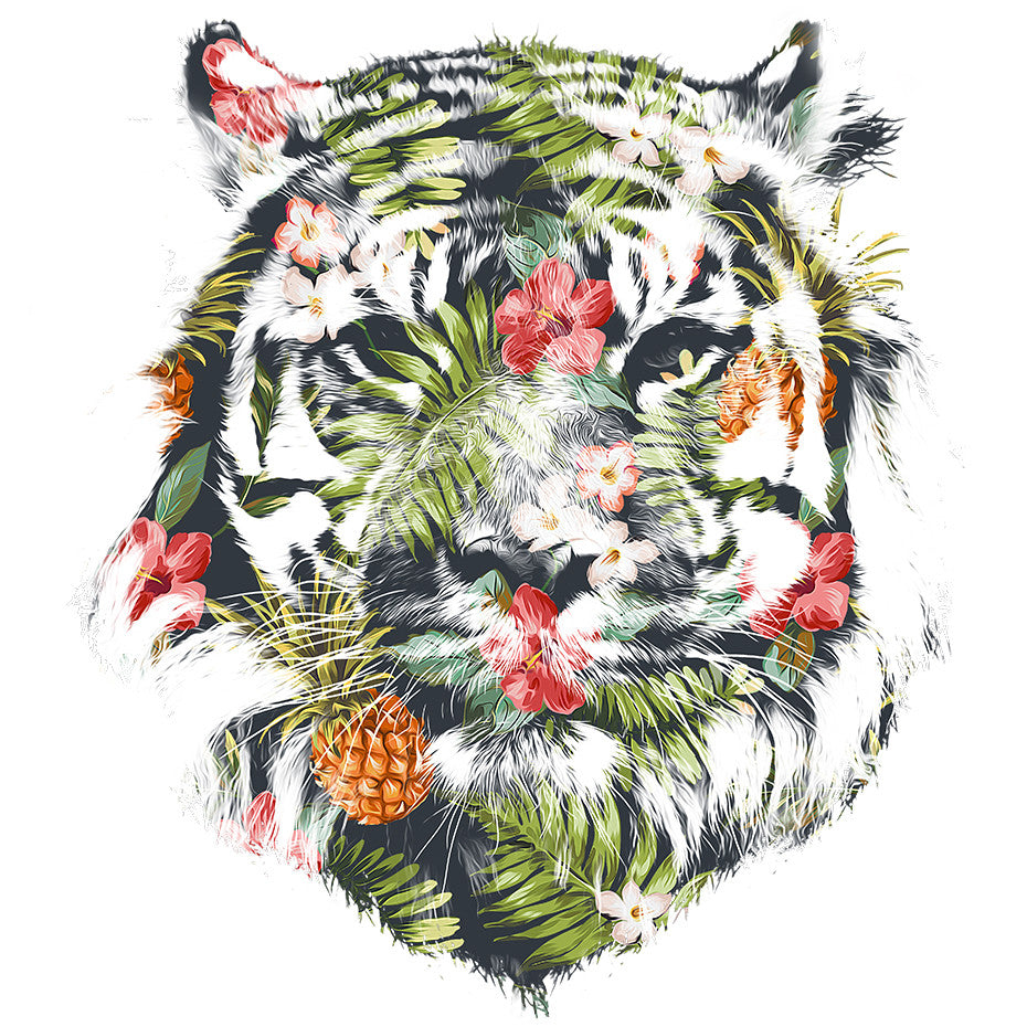 Artokingo - Tropical Tiger White T-Shirt by Robert Farkas