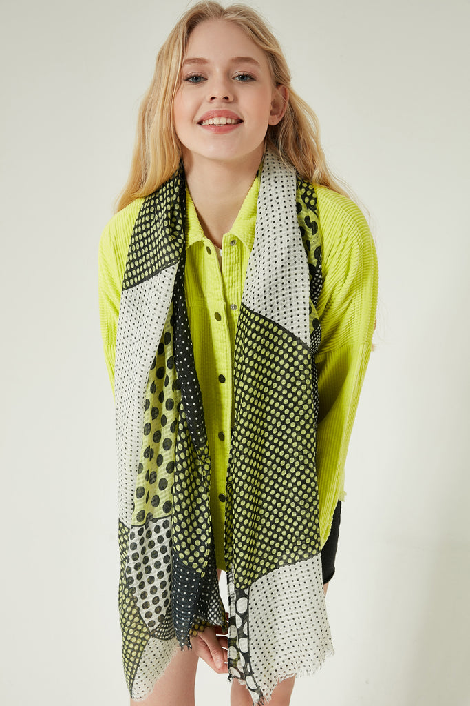 10855 Polka-dotted Green Colorful Shawl