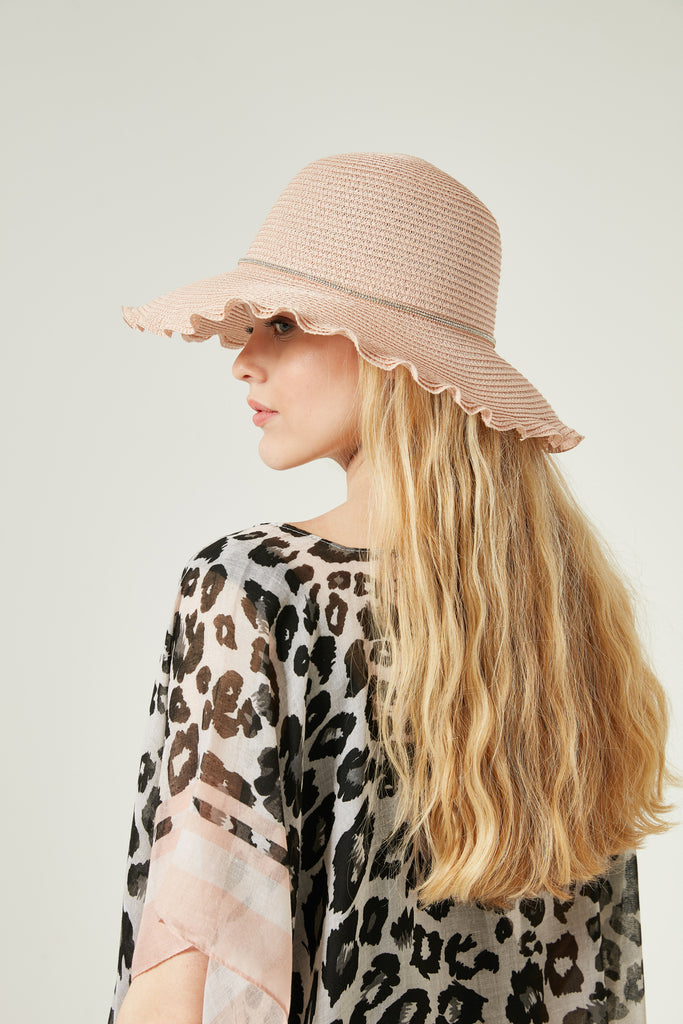 11509 Bright Stone Striped Pink Straw Hat