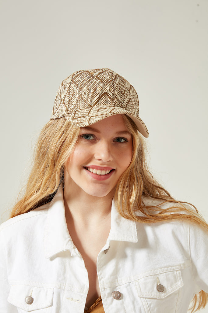 11544 Ethnic Patterned Beige Straw Cap