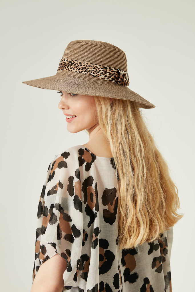 11553 Leopard Striped Mink Straw Hat