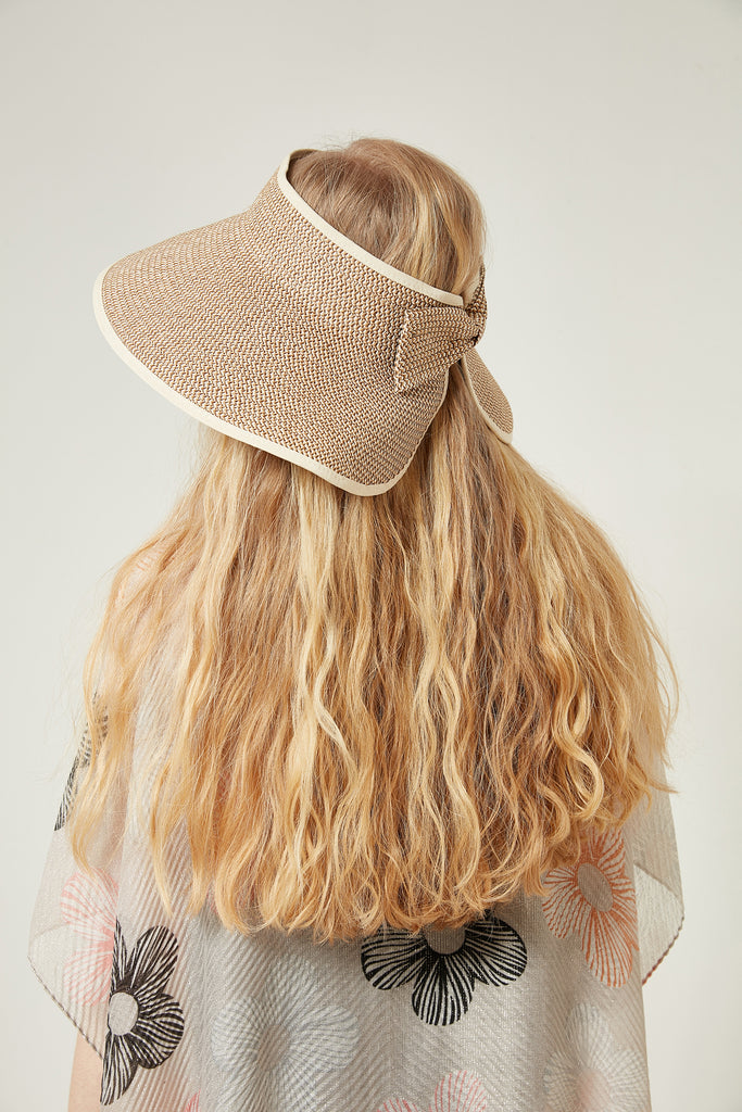 11567 Bow Tie Detail Beige Straw Hat