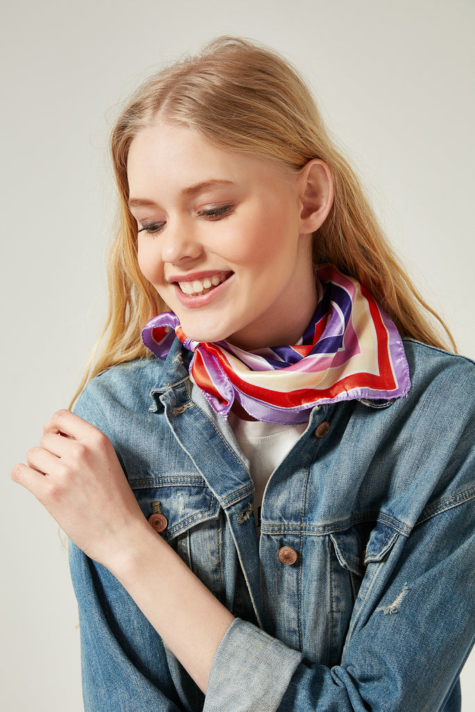11623 Purple Colorful Patterned Kerchief