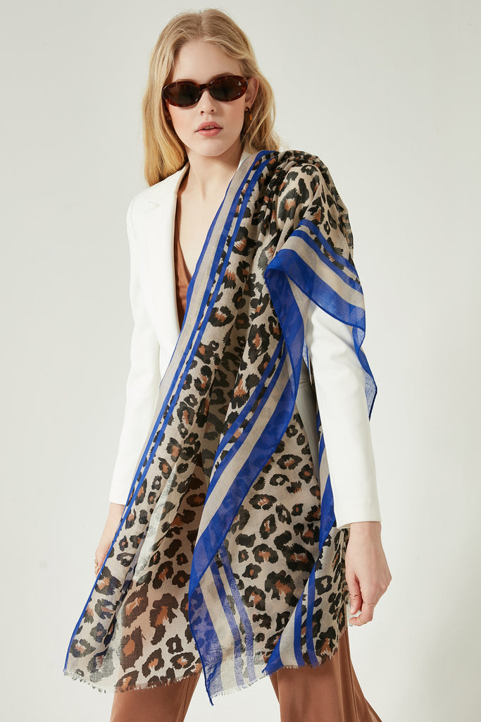 11702 Leopard Patterned Sax Colorful Shawl