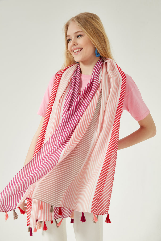11742 Stripe Patterned Somon Fringe Shawl