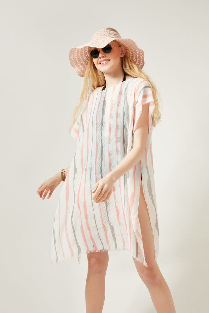 11748-1 Stripe Patterned Pink Pareo