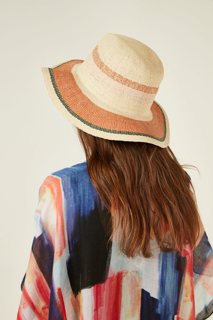 11506 Orange Stripe Straw Hat