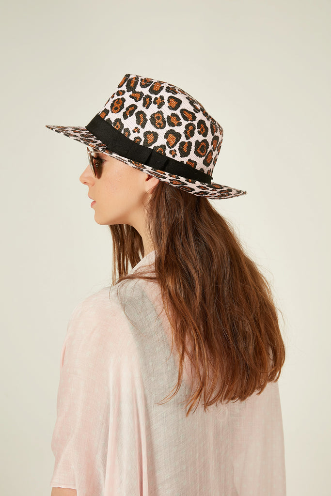 11548 Leopard Patterned Pink Renk Straw Hat