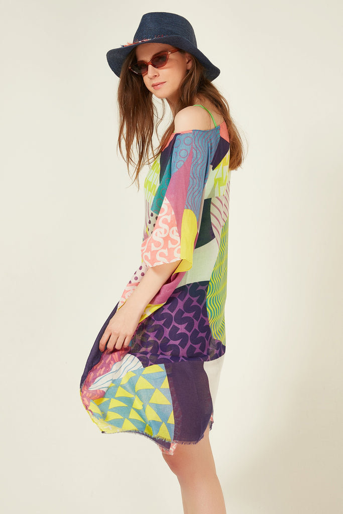 11711-1 Etnic Patterned Multi Colored Tasseled Pareo
