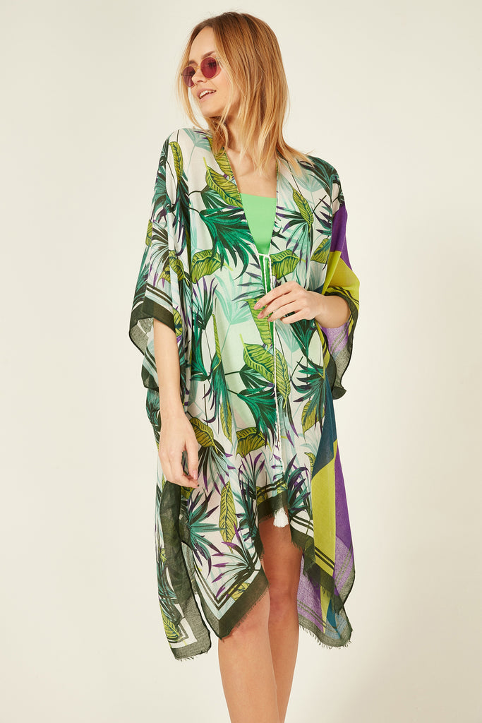 11707-2 Tropical Patterned Green Fringed Pareo