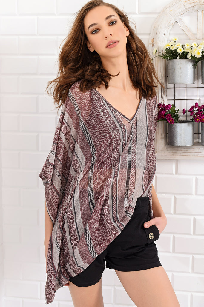 V Neck Hovel Etnic Pattern Tunic