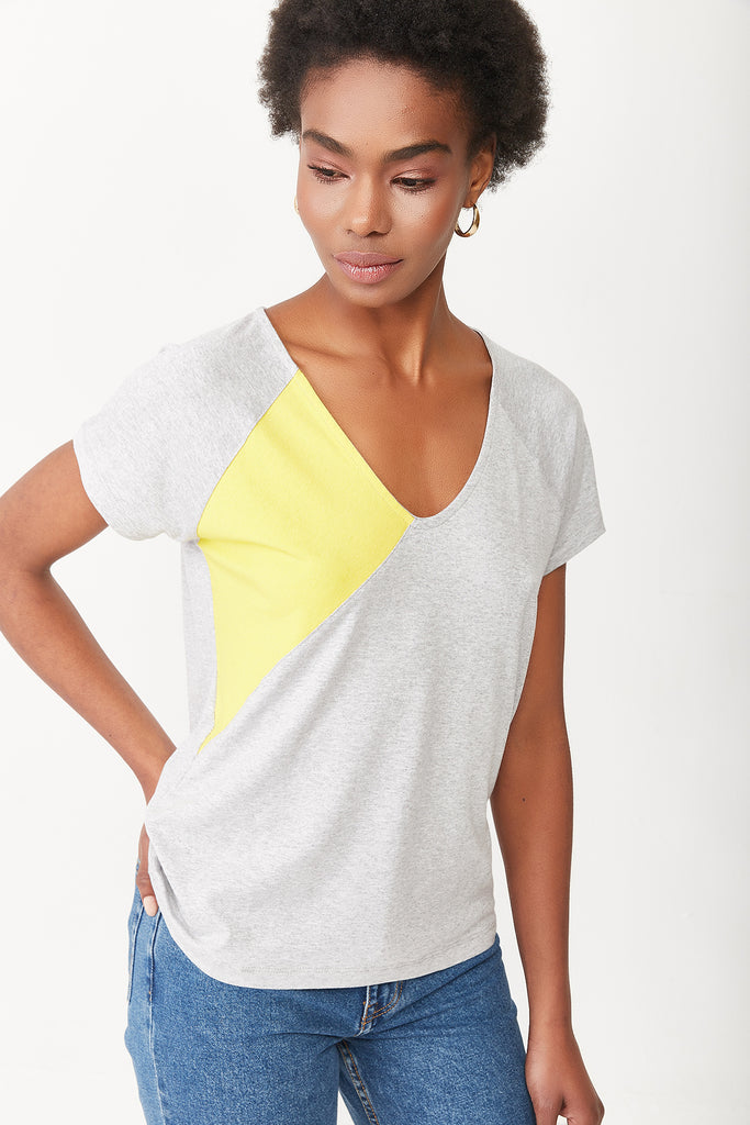 VISCOSE BLOUSE-GREY-YELLOW