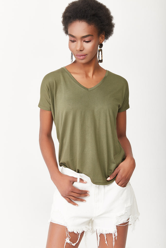 V NECK BASIC BLOUSE-KHAKI
