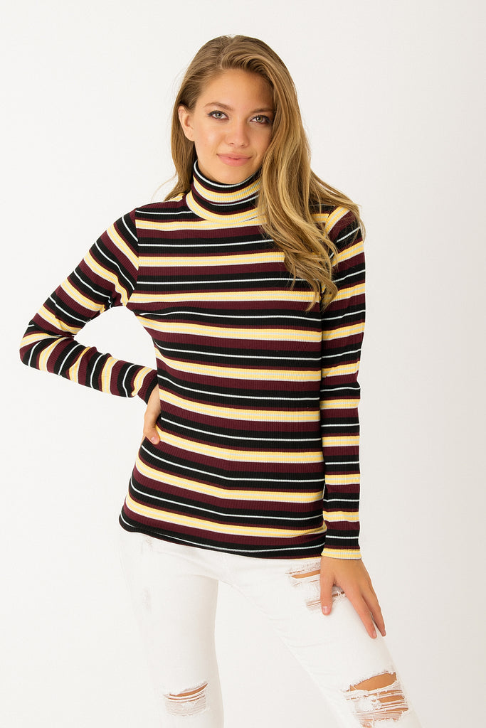 TurtleNeck Stripe Pattern Top Claret Red Yellow