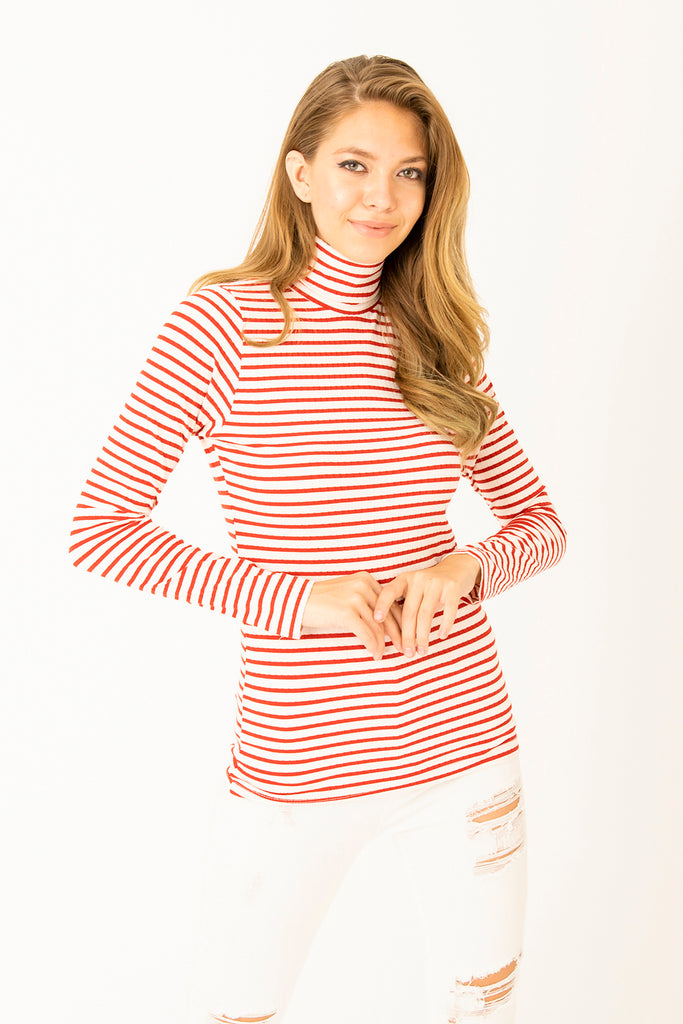 TurtleNeck Stripe Pattern Top Red White