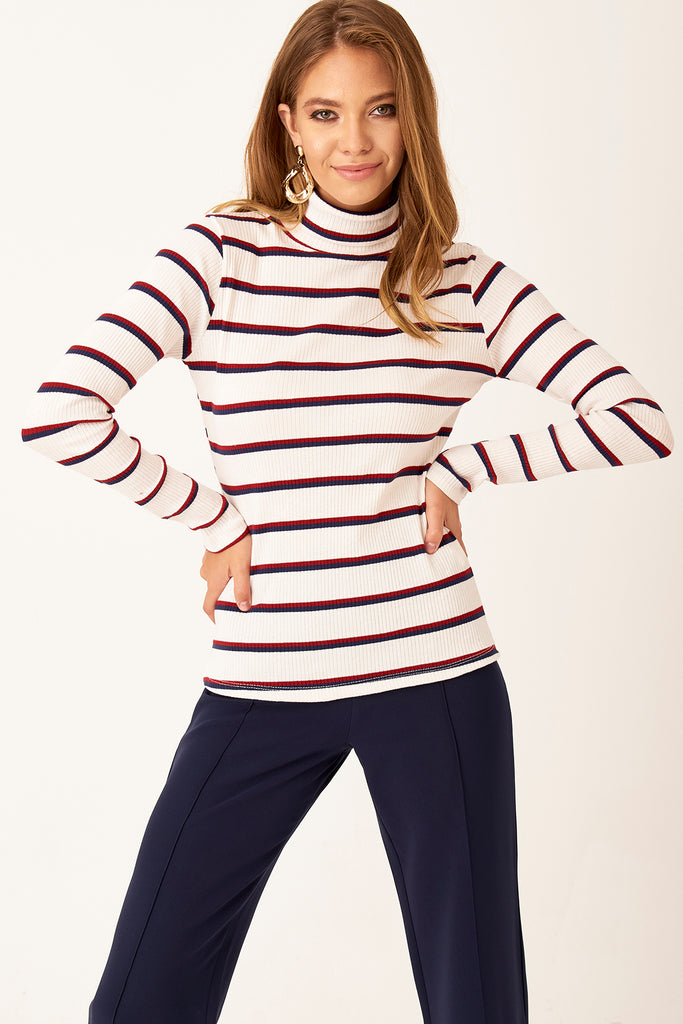 TurtleNeck Stripe Pattern Top White