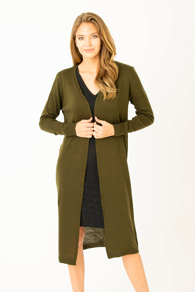 Basic Long Cardigan Khaki