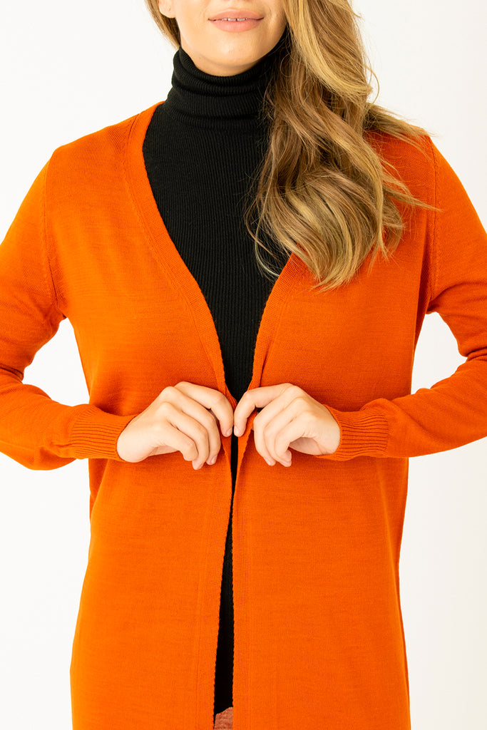 Basic Long Cardigan Orange