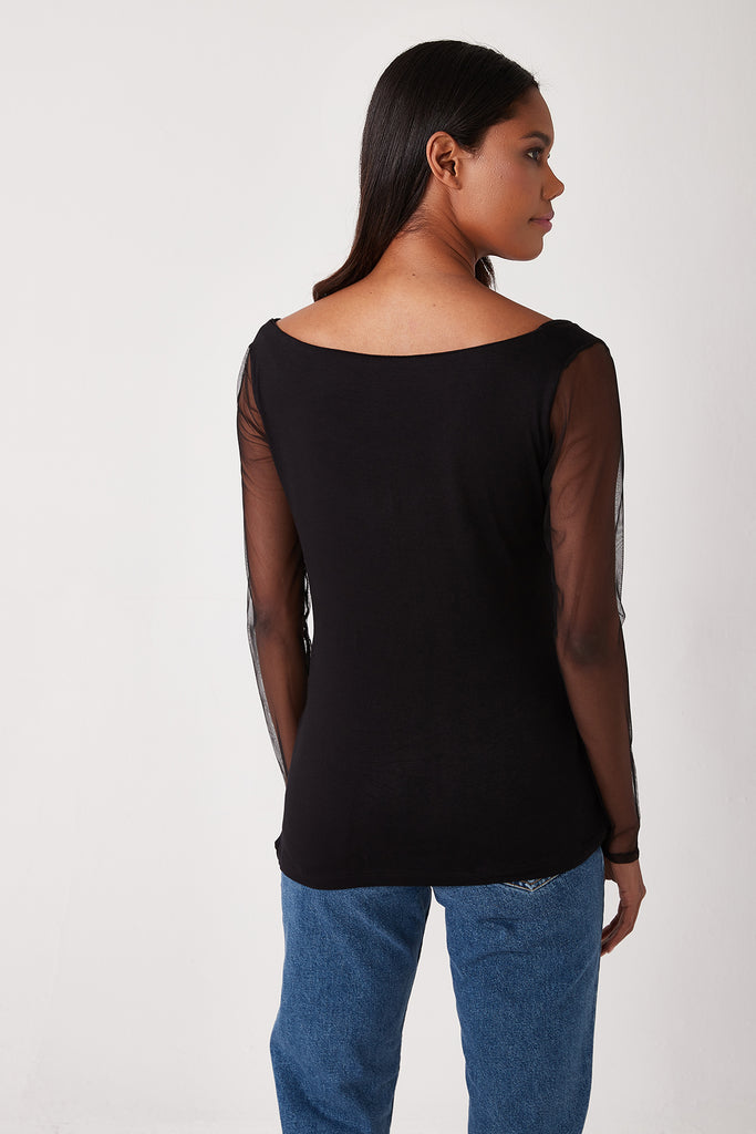 Combed Cotton Tulle Sleeve Blouse-Black