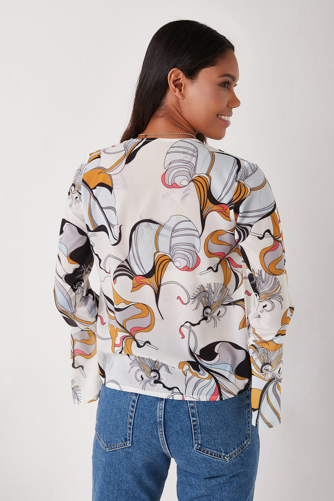 Digital Printed Blouse-White