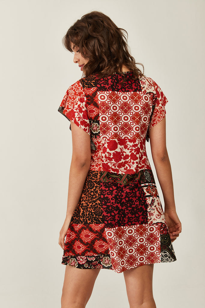 V-Neck Pattern Dress-Claret Red