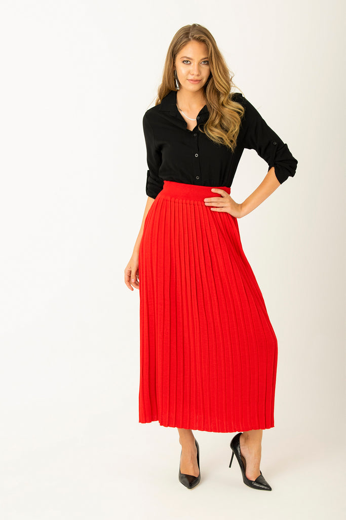 Elastic Waist Pleated Long Skirt Red