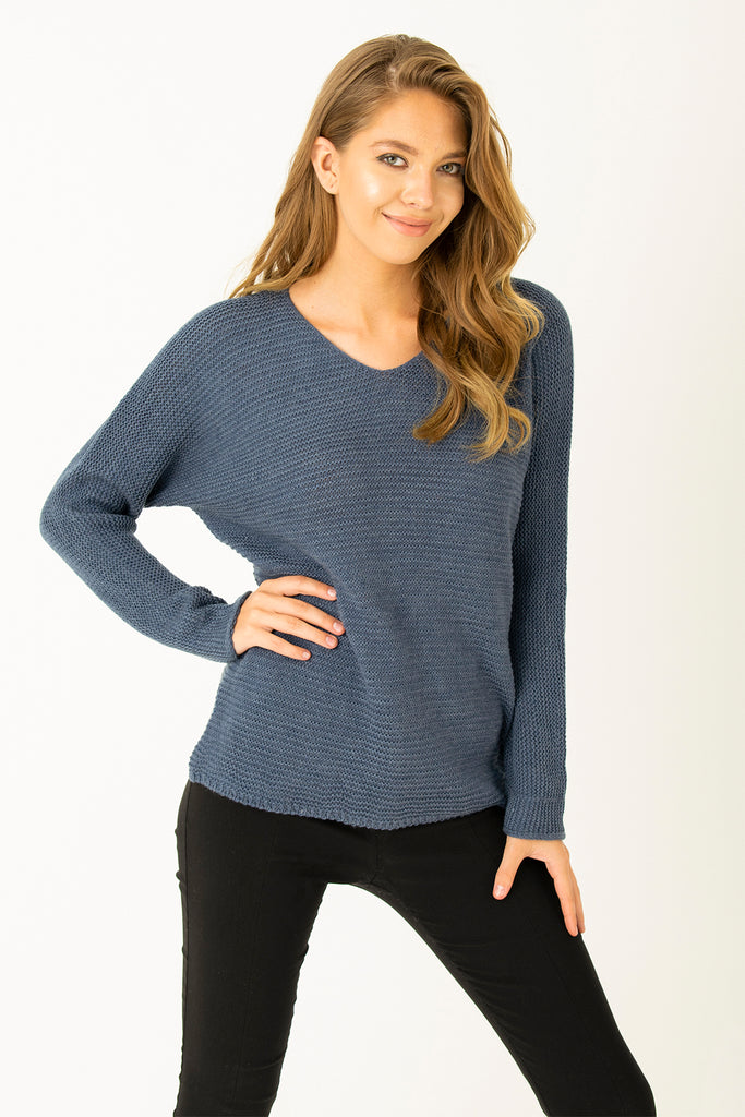 V Neck Basic Tricot Indigo