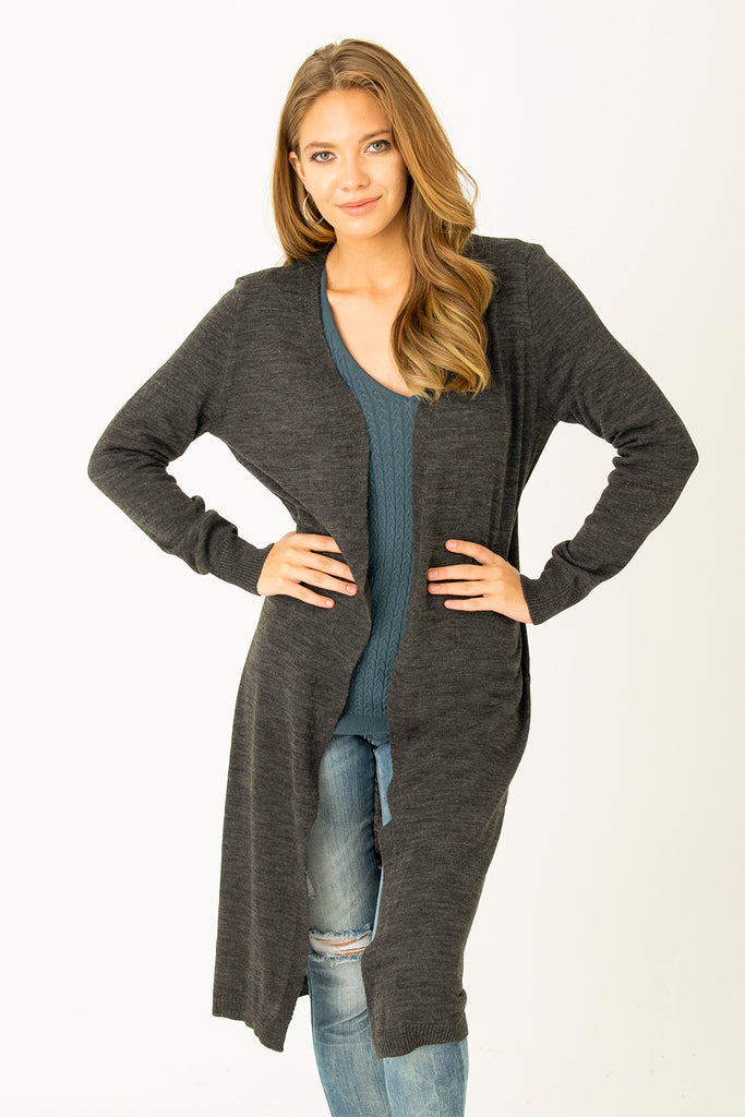 Basic Long Tricot Cardigan Anthracite