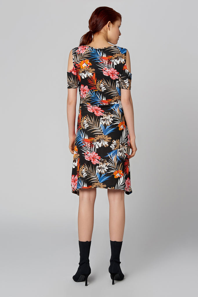 Crew Neck Open Shoulder Short Sleeve Flower Pattern Dress