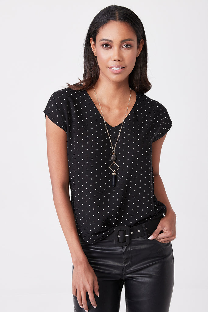 V Neck Polkadot Pattern Short Sleeve With Neckless Shirt